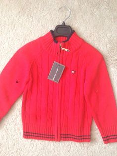 tommy red cardigan Girls Fall Outfits, Weather Change, Red Cardigan, Fall Clothes, Girl Falling, Black Trim, Stripes, Pullover, Sweaters