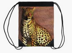 """Panther"" Drawstring Bag by Savousepate on Redbubble #drawstringbag #bag #drawing #panther #leopard #feline #yellow #brown"