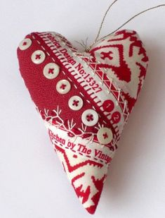 Natima / Not just that - selvage heart ornament with hand embroidery and buttons