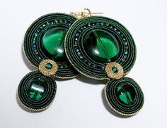 Soutache Jewelry Soutache Earrings Green Earrings Green by Herinia, $35.00