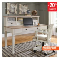 Fall in love with the Sarvanny Two-tone Home Office Large Leg Desk with Hutch by Signature Design by Ashley at Direct Value Furniture proudly serving Roscoe, IL and surrounding areas for over 10 years! Value Furniture, Furniture Sets, Furniture Decor, Home Office Desks, Home Office Furniture, Bali, Interior, Design, Home Decor