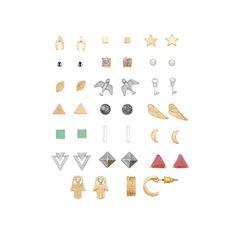 Hamsa, Wings, Bird & Moon Stud Earring Set, Women's, multicolor