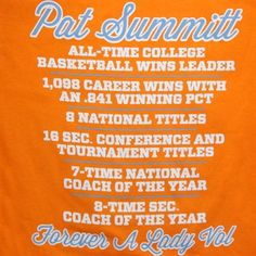adidas Tennessee Lady Vols Pat Summitt Vol Memories T-Shirt - Tennessee Orange