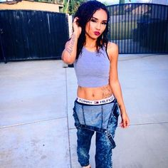 Therealarianamarie Pretty Girl Swag Crop Top Dungaree Denim Tommy Hilfiger Boxers Pants Underwear Streetwear Urban Swag Dope Trend Style Outift OOTD Cute Hot Sexy Black Beauty African American