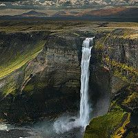 The waterfall Háifoss is located near the Hekla in Iceland. The Fossá í Þjórsárdal, a tributary of the Þjórsá, crashes here on a steep level of 122 m in depth. It is the third-highest waterfall of Iceland.