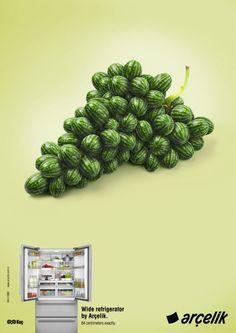 Arçelik Wide Refrigerator: Grape    Wide refrigerator by Arçelik.  84 centimeters exactly.    Y Reklamevi, Istanbul, Turkey