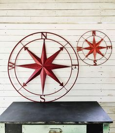 Nautical Wall Art Metal Wall Compass Metal Red Wall Decor Beach House by AlacartCreations