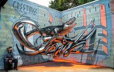 Odeith is Back with More Jaw-Dropping Anamorphic Graffiti.  @ellomural @ellograffiti #graffiti #streetart