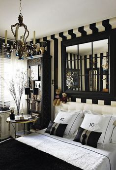 Gorgeous Black & White Bedroom...love the striped walls - Javier Castilla