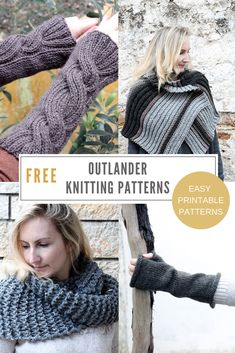 Outlander patterns inspired by the TV show, including Claire's cable knit wrist warmers, Brianna's capelet, Claire's arm warmers and more! Take a look at this roundup and choose your next knitting project. Outlander Knitting Patterns, Knitting Paterns, Knit Patterns, Free Knitting, Knitting Projects, Knitting Ideas, Cable Pattern Free, Knitting Basics, Fingerless Gloves Knitted