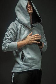 Bluza bokserska męska szara z czernią
