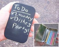 REpurpose altoids tin as a little chalkboard with built in chalk holder.
