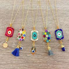 Good Luck Necklaces #necklace #colorful #color #lafoxguadalajara #ojoturco #hamsa #mano #hand #evileye #ojos #goldplated #collar #miyuki #delica #fashion #moda #instagood #goodluck #luxury #style #followme #love #cool #instadaily #orolaminado #wholesale