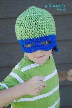 TMNT with eye mask - Crochet Beanie - all sizes - made to order