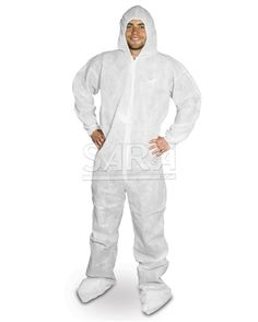 (25/CASE) POLYLITE WHITE DISPOSABLE COVERALLS WITH HOOD & BOOTIES : saraglove.com