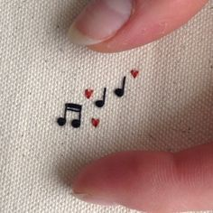 tiny music notes embroidery