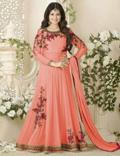 6b3f7d54a6 Women s Clothing - Ayesha Takia In Peach Georgette Anarkali Suit - -  PRODUCT Details   Style   Semi-Stitched Party Wear Anarkali SuitDefault Size