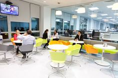 Kaspi Bank, Moscow +++ Lounge / Cafetaria / Coffee Break ares furnished with #Rondo Lounge Chairs & T-Meeting Side tables.
