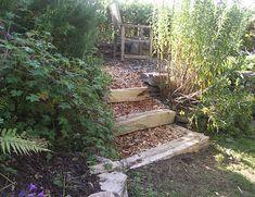 Chunky rustic chestnut garden steps