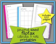 Filofax Personal Sized Planner Calendar & Note Printables