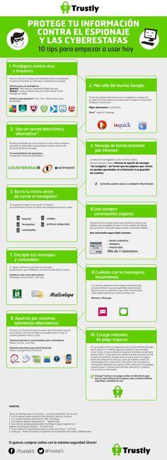 Protege tu información contra el espionaje y las ciberestafas #infografia