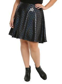 2c509ad3aa6 Mermaid Black Holographic Scale Skirt Plus Size