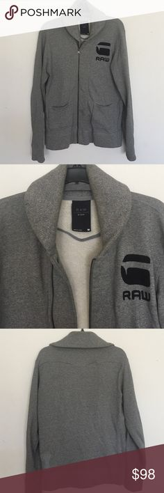 G-Star Raw Men's Sweatshirt G-star Raw Pompeius Shawl Collar Full Zip Jumper in Grey Grain, off centre zip with press stud fastening, large embroidered G Star Raw logo on the left chest in black, two front pouch pockets, embroidered logo on the reverse in grey, ribbed collar, cuff and waistband, 100% Cotton in good condition. G-Star Jackets & Coats Lightweight & Shirt Jackets