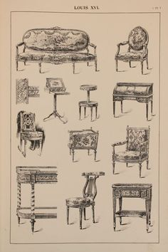 Items similar to French Louis XVI Furniture Designs, Large 1904 Antique Black & White Print, Interior Design, Arts and Crafts on Etsy French Furniture, Furniture Layout, Classic Furniture, Furniture Styles, Antique Furniture, Diy Furniture, Furniture Design, Furniture Movers, Kitchen Furniture