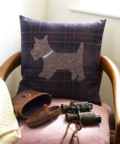 Use trendy tartan or tweed fabric to make these adorably cute appliqué cushions