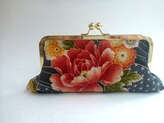 20% COUPON SALE, Wallet, clutch, cosmetic bag, watermelon pink, coral, black, salmon, Japanese fabric on Etsy, $36.00