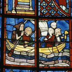 Cathédrale Saint-Etienne de Bourges : vitrail de la vie de Marie l'Egyptienne (détails) PÉRIODE 13e siècle TECHNIQUE/MATIÈRE vitrail (technique)