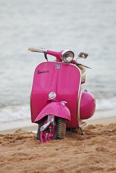 pink, cute, vespa, vintage, beach