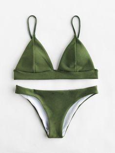 Seam Detail Triangle Bikini Set