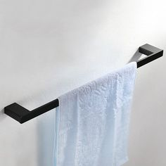Tierney Wall Mounted Stainless Steel Single Rod Towel Bar in Black - Towel Bars - Bathroom Accessories