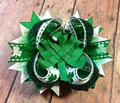 St. Patrick's Day Boutique Hair Bow / Boutique by MooMoosBowtique, $7.00