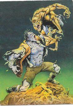 'Werewolf vs. Frankenstein'. From the trading card Mike Ploog artwork series, by FPG, 1994.