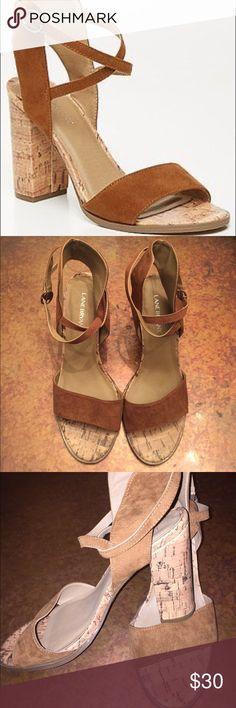 Suede Strappy Cork Heels Fabric Upper crazy cute heels! Lane Bryant Shoes Heels