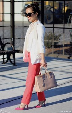 Salmon Pink & Bow Tie Blouse