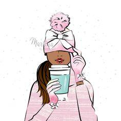 Monday coffee girl dark skin cold December illustration