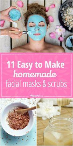 11 Easy to Make Homemade Facial Masks and Scrubs Homemade Facial Mask, Homemade Skin Care, How To Make Homemade, Homemade Masks, Homemade Facials For Acne, Homemade Peel Off Mask, Facemasks Homemade, Face Scrub Homemade, Facial Skin Care