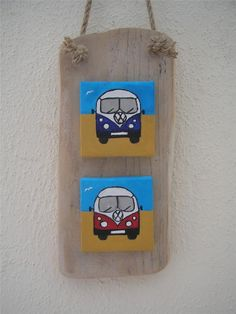 TREASURY ITEM VW Camper Vans on mini canvas mounted on driftwood, Beach house decor, Driftwood Art, driftwood decoration, made in Ireland via Etsy Driftwood Beach, Driftwood Art, Pebble Painting, Pebble Art, Bus Art, Mini Canvas Art, Beach Crafts, Vw T1, Small Art