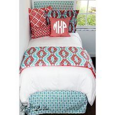 top dorm room bedding Coral & Aqua Ikat Designer Teen & Dorm Bed in a Bag