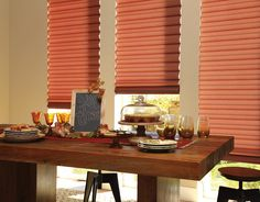 Give thanks this holiday season for all those we love and are grateful for. ♦ Hunter Douglas window treatments Solera® Soft Shades #DiningRoom