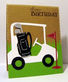 There's a new challenge up at Cricut Cardz  and this WAS a challenge!!  Create a masculine birthday card that includes wheels. I struggle wi...