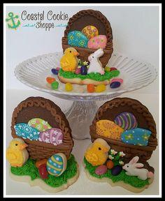 Coastal Cookie Shoppe (was east coast cookies) Fancy Cookies, Iced Cookies, Cute Cookies, Easter Cookies, Easter Treats, Cupcake Cookies, Cupcakes, Christmas Cookies, Easter Biscuits