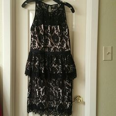 Milly coctail dress Milly black lace cocktail peplum dress. Beige slip under the black lace. Used once, like new. Milly Dresses Mini