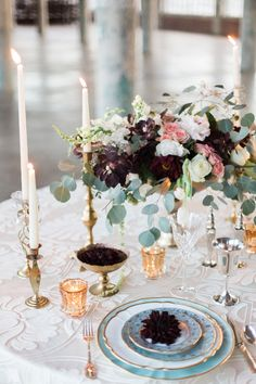 Gorgeous burgundy centerpiece! Love these colors together