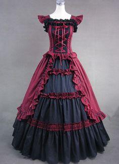 Short Sleeves Golden Victorian Lolita Dress (art,fashion,vintage,photo,pickaflick,girls,picture)