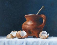Eierschalen en graap olieverf op paneel 24 x 30 cm