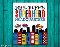 Superhero Classroom Decor. Gift for Teacher. Classroom Sign. Teacher Appreciation. Teacher Gift. School Sign. End of Year Teacher Gift.